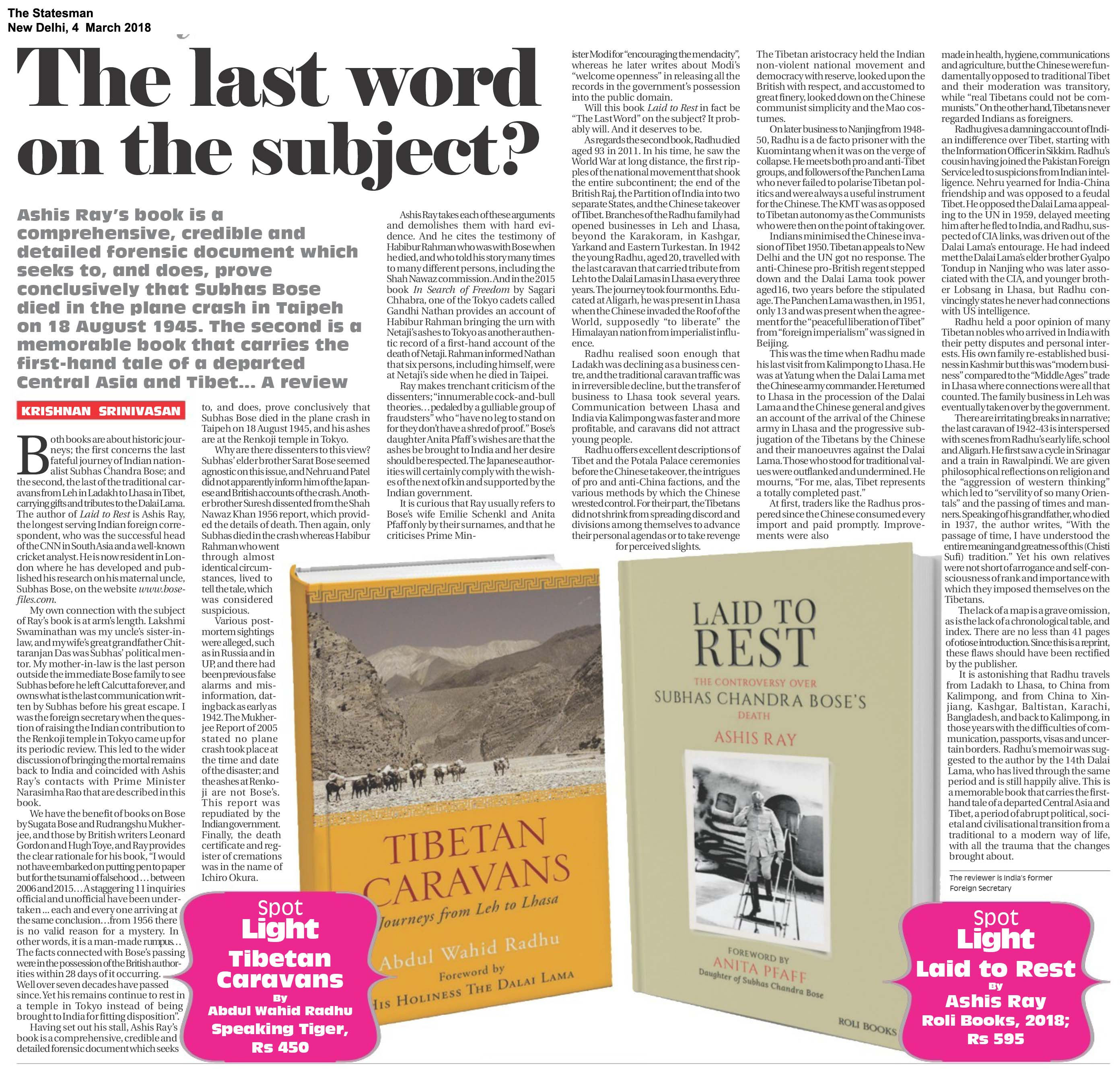 Laid To Rest <br><span>The Statesman, New Delhi</span>