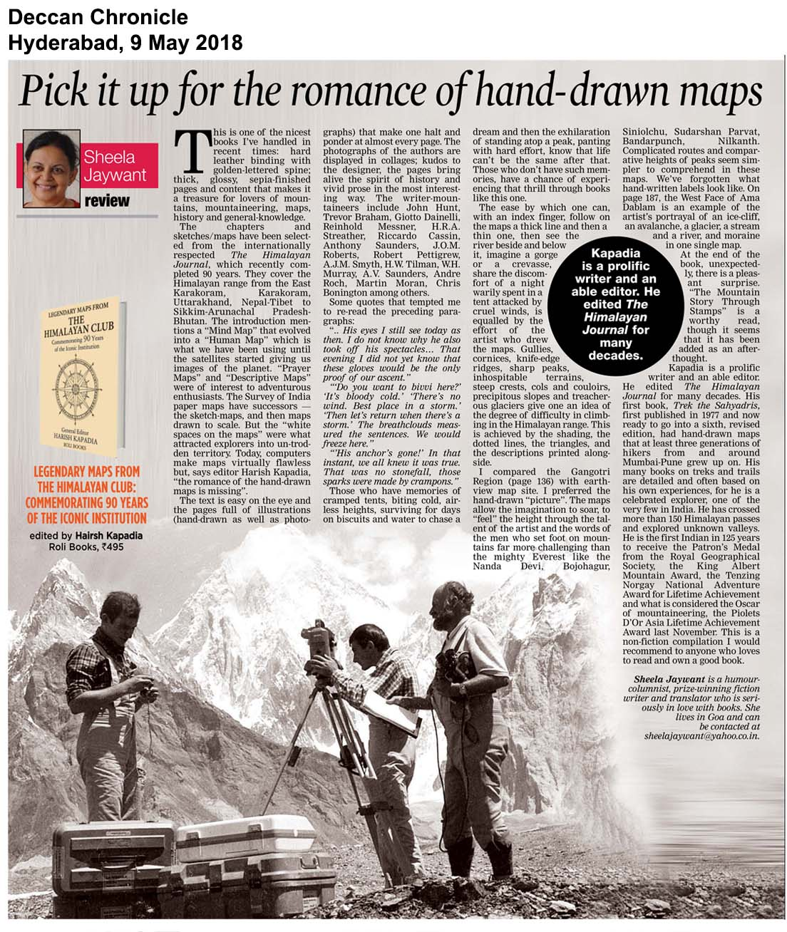 Legendary Maps From The Himalayan Club<br><span>Deccan Chronicle, Hyderabad</span>